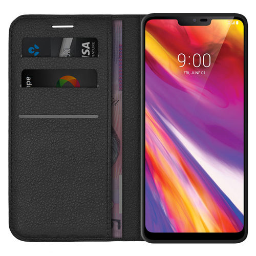 Leather Wallet Case & Card Slot Holder Pouch for LG V40 ThinQ (Black)